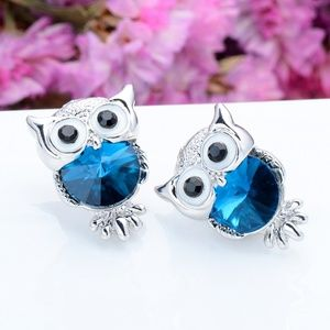 Jewelry - Blue Crystal Owl Stud Earrings - SALE 5 for $30!